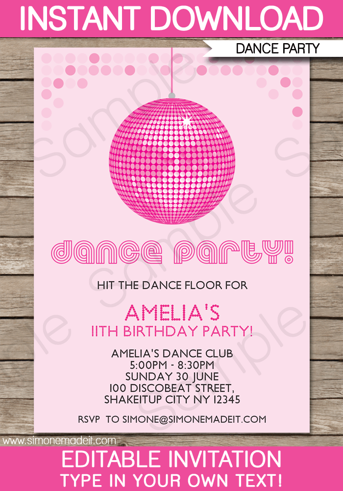 dance party invitations template | ball birthday parties, ball, Party invitations