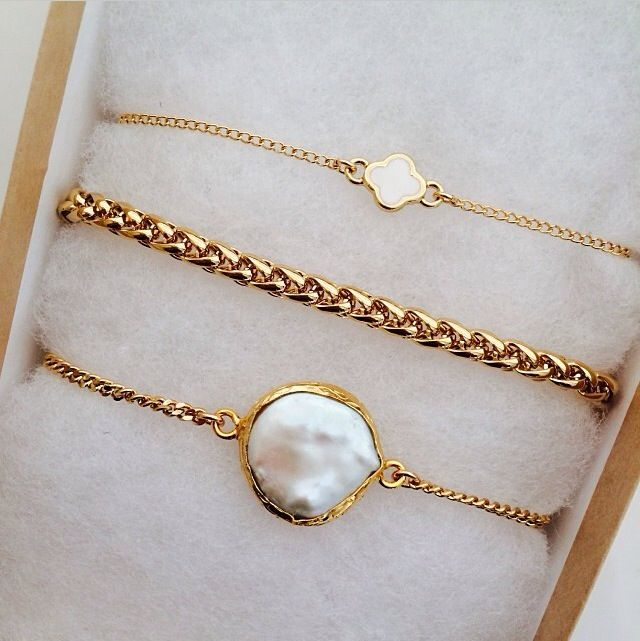 Micro Spade Bracelet, Braided Bracelet, and Mother of Pearls Bracelet by Long Lost Jewelry