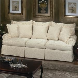 Loose Pillow Back Sofa With Rolled Arms And Skirt From Craftmaster Furniture