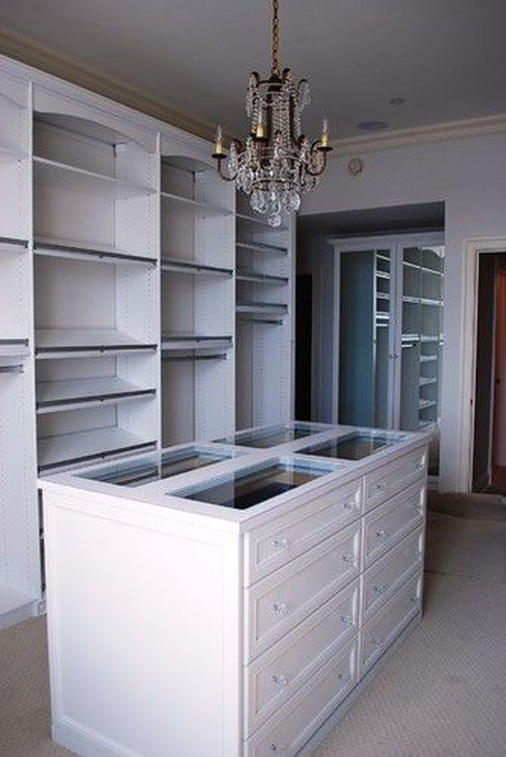 Walk In Wardrobe Drawer Island With Glass Top Closet Island