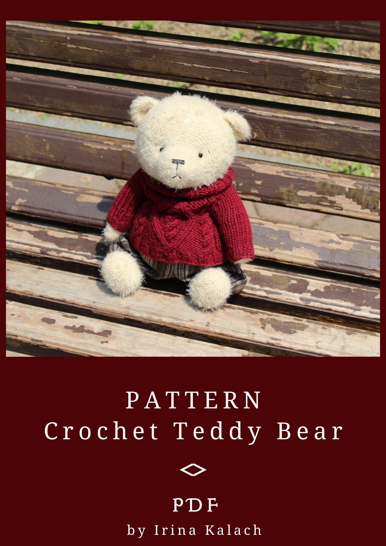 PATTERN Crochet Teddy bear. PATTERN Amigurumi Teddy bear. PATTERN Teddy Bears Outfits #crochetbear
