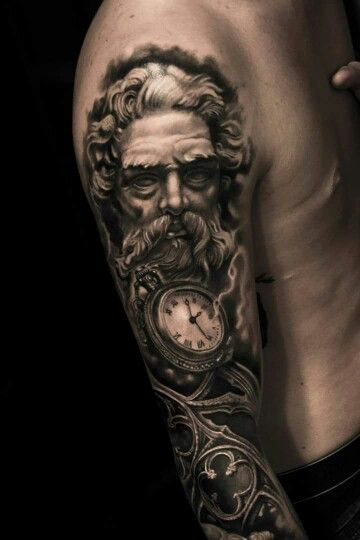 Incredible artist • Tattoo • Father time • 3D • by Mumia from Silverback Ink