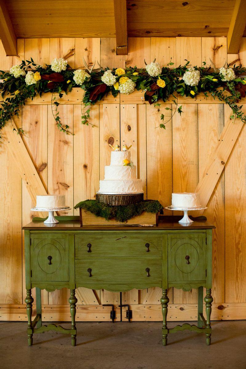 Green buffet cake vintage display waterstone vintage barn wedding