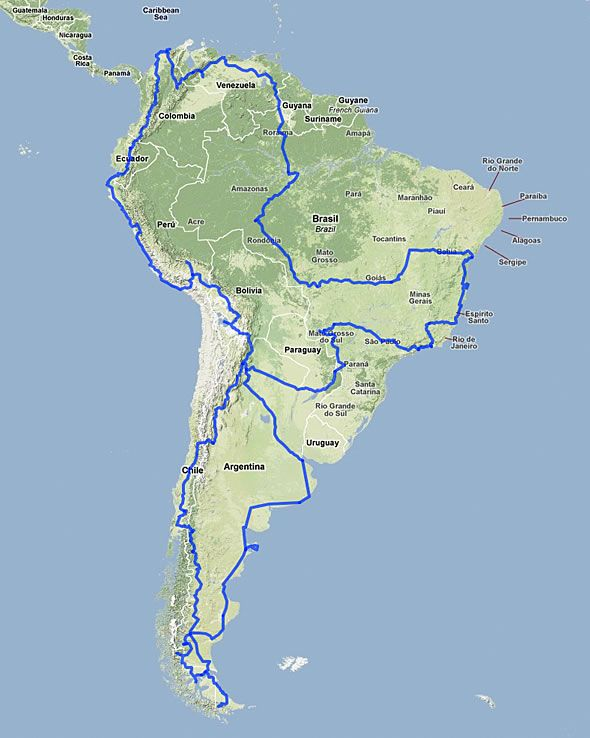 Week South America Overland Argentina Chile Brazil - South america road map