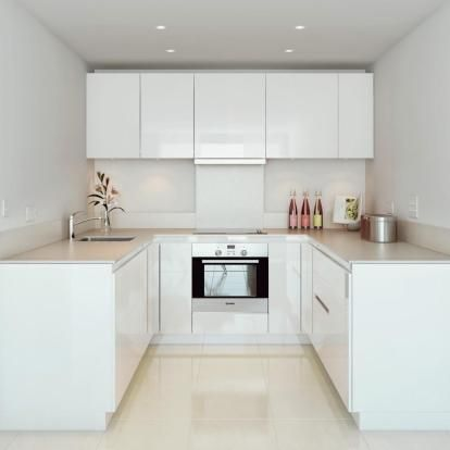 Small Kitchen White Lacquer Cabinets U Configuration Back Wall Uppers