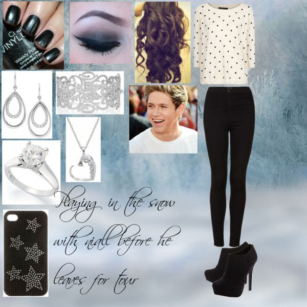 """playing in the snow with niall before he leaves for tour"" by sabrina-scott on Polyvore"