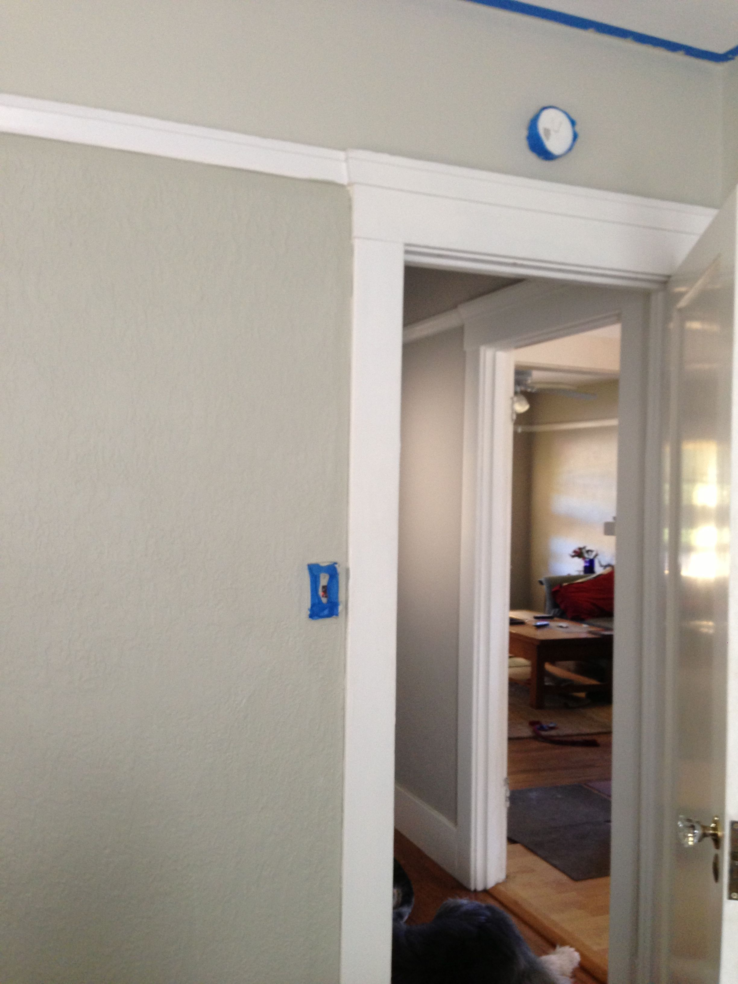 Bedroom Color Benjamin Moore Paris Rain Eggshell Diluted 50 Above Picture Rail Ceiling Is