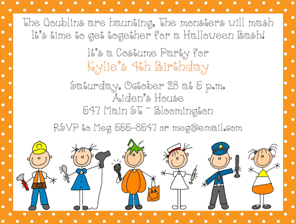 costume birthday party invite Kid Parties Pinterest – Halloween Costume Party Invite