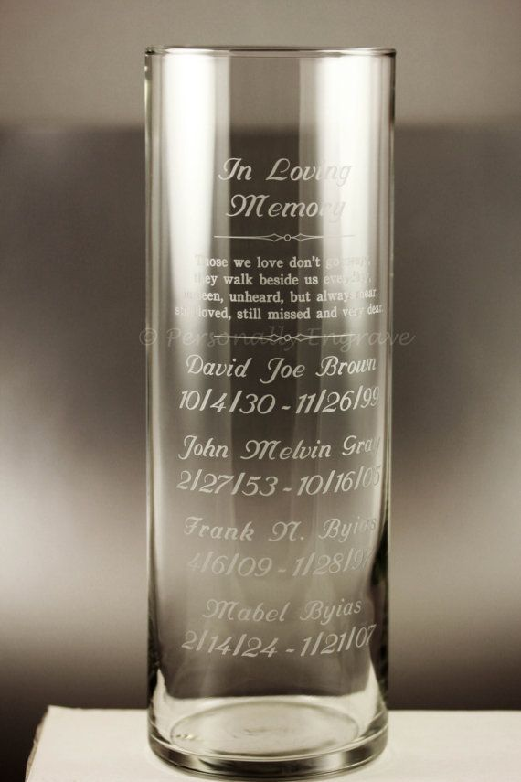 Wedding Memorial Candle Engraved Vase Those We Love Don T Go