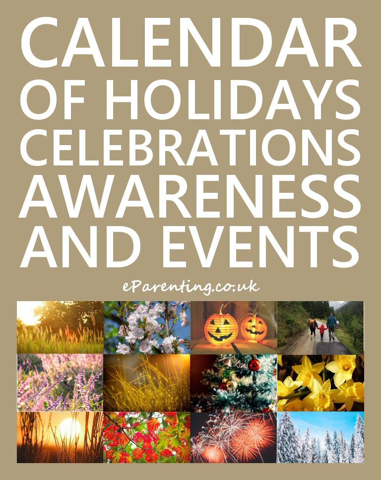Calendar of Holidays, Celebrations, Awareness and Special Events
