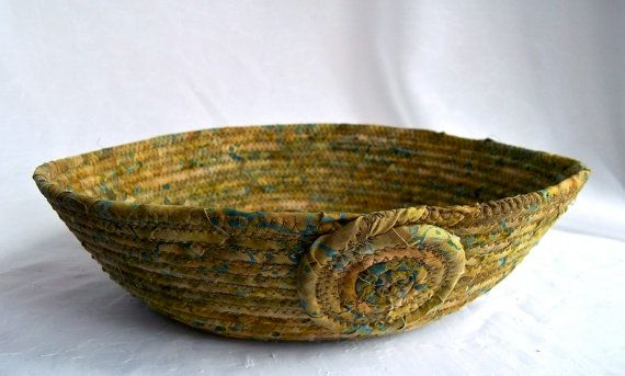 Fern Blue Basket Handmade Olive Green Textile by WexfordTreasures, $21.99