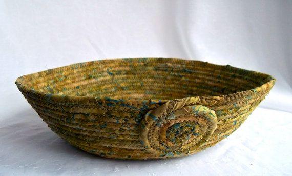 Fern Blue Basket Handmade Olive Green Textile by WexfordTreasures, $21.99