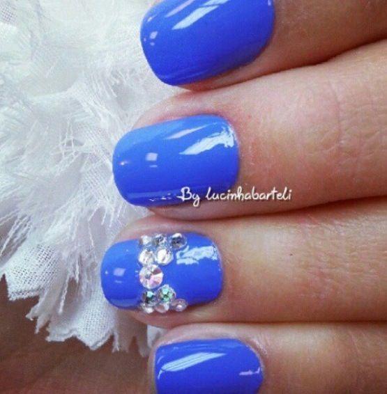 Blue Prom Nails: Royal Blue Nails With Gem Design