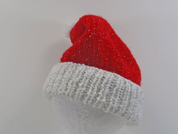 c5defea148b Baby Santa Hat Red Hand Knit Acrylic Infant by SwedetteKnits ...