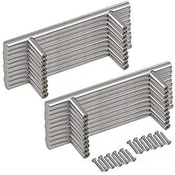 dor/é or Probrico Poign/ée de porte en forme de T en acier inoxydable et laiton bross/é