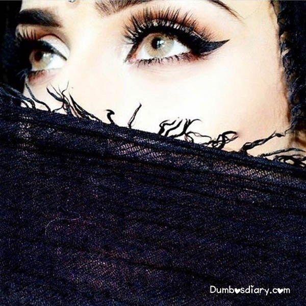 Grey Eyes Pretty Arab Girl In Black Veil Jpg 600 600 Niqab