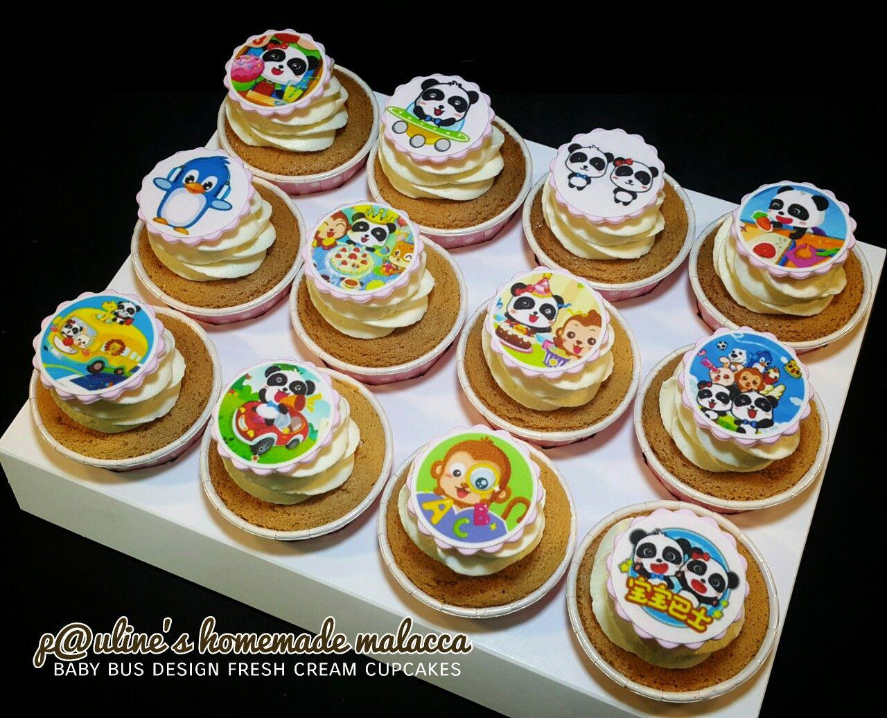 Baby bus / edible image / fresh cream cupcakes