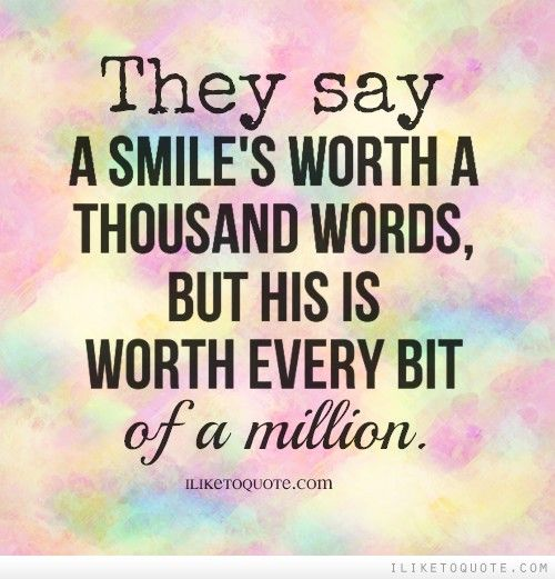 what has only two words but thousands of letters they say a smile s worth a thousand words but his is 802
