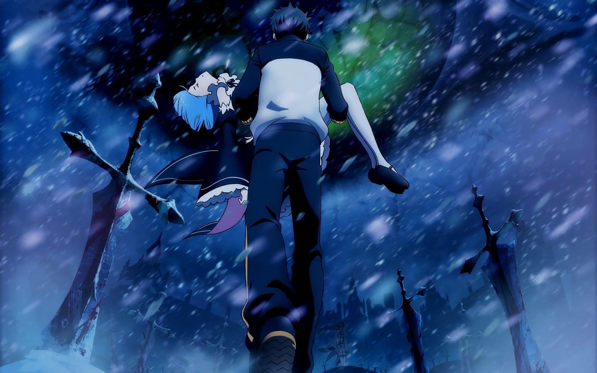 Man Carrying Woman Digital Wallpaper Re Zero Kara Hajimeru Isekai Seikatsu Natsuki Subaru Rem Re Zero Anime 1080p Re Zero Wallpaper Anime Re Zero Subaru