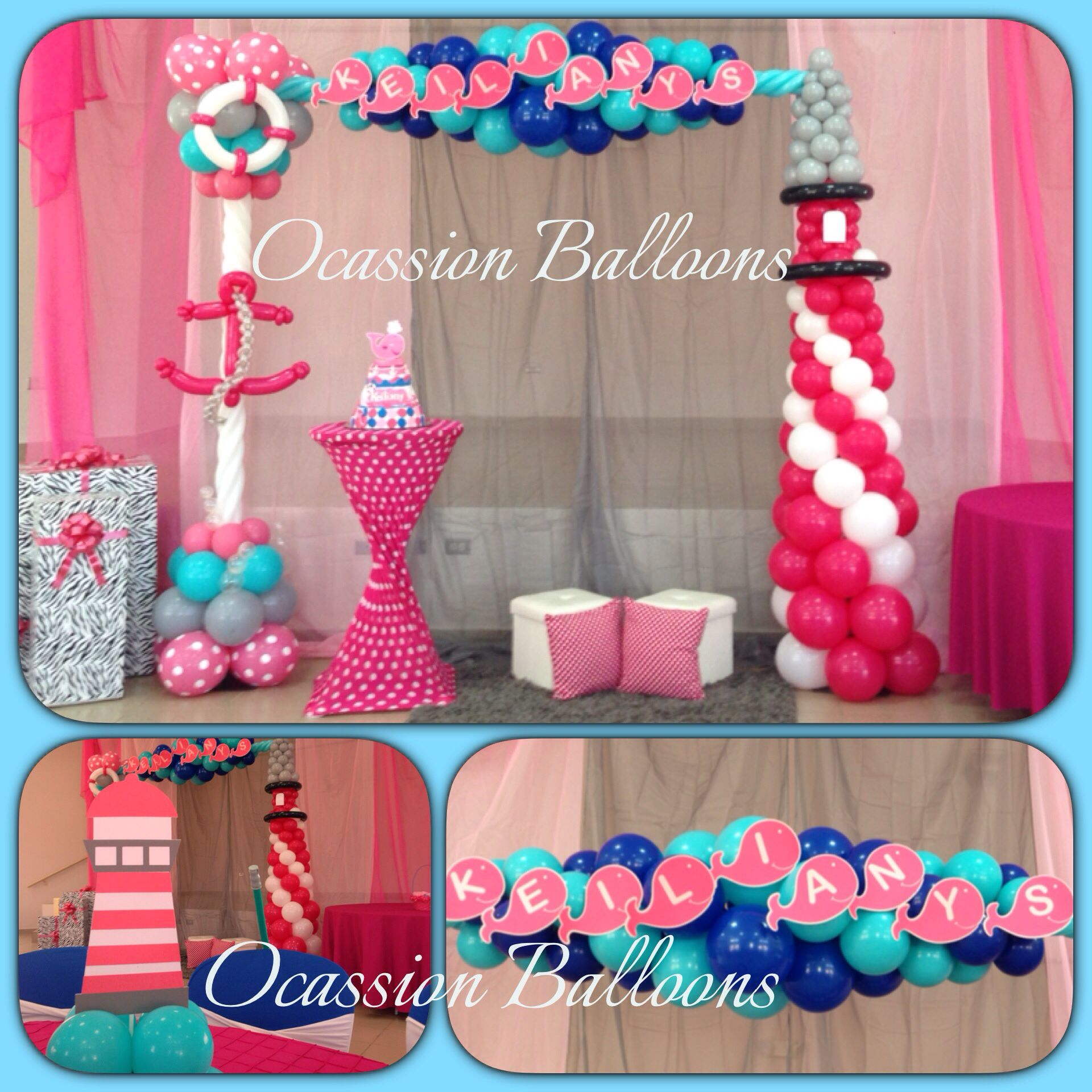 Owl Balloon Decorations Nautical Girl Baby Shower Balloons Decoration Balloon Art By