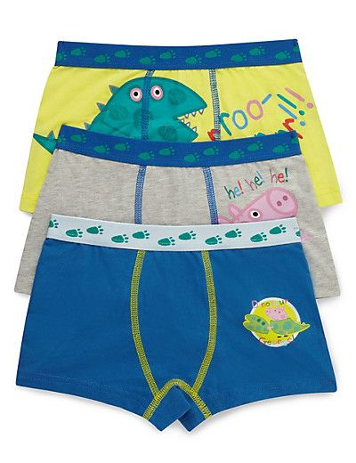ae7a745c0749e 3 Pack Cotton Rich George Peppa Pig™ Trunks (1-7 Years) | boys ...
