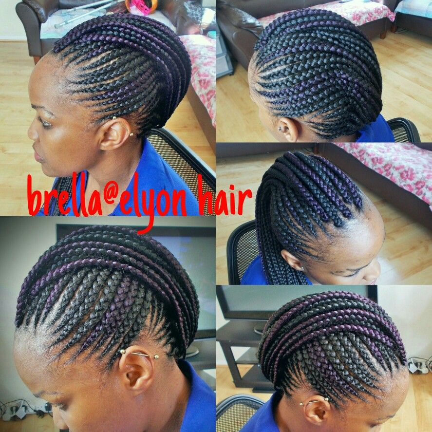 Cornrow Mohawk With A Hint Of Purple African Braids Hairstyles Beautiful African Hair African Hairstyles