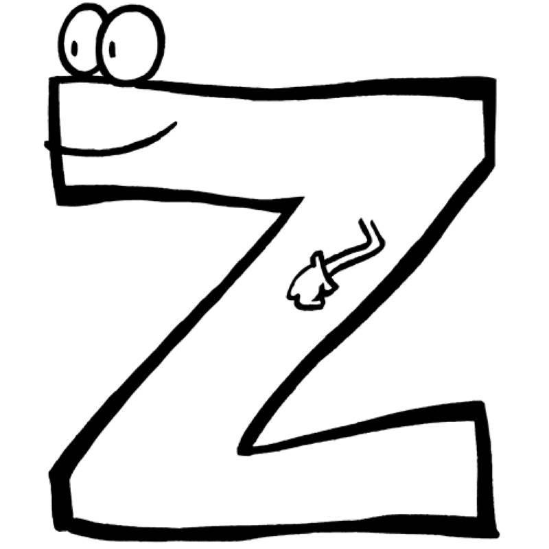 das alphabet beim ausmalen lernen der buchstabe z wartet