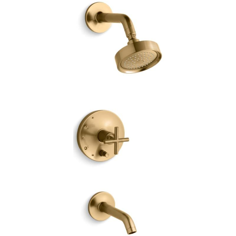 Kohler K T14420 3 Purist Single Handle Rite Temp Tub And Shower Trim With Single Vibrant Moderne Brushed Gold Faucet Tub And Shower Single Handle In 2020 Shower Faucet Tub Shower Faucets Kohler Purist