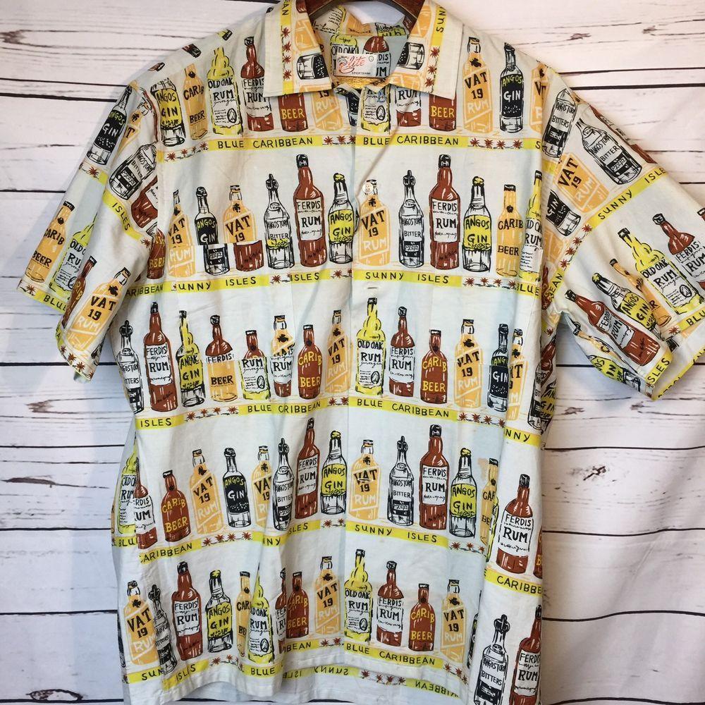 7829ffe7 Mens Elite Sportsman Vtg Hawaiian Shirt Ferdis Rum Angos Gin Beer Caribbean Sz  L #EliteSportsman #Hawaiian