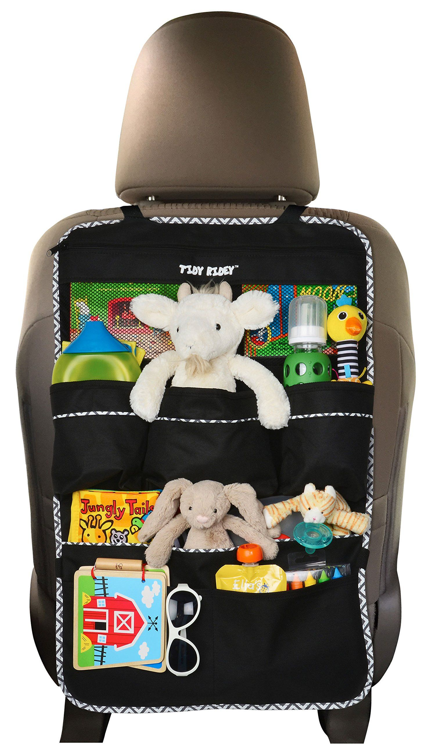 premium backseat organizer for kids cars extra large size covers back of seat