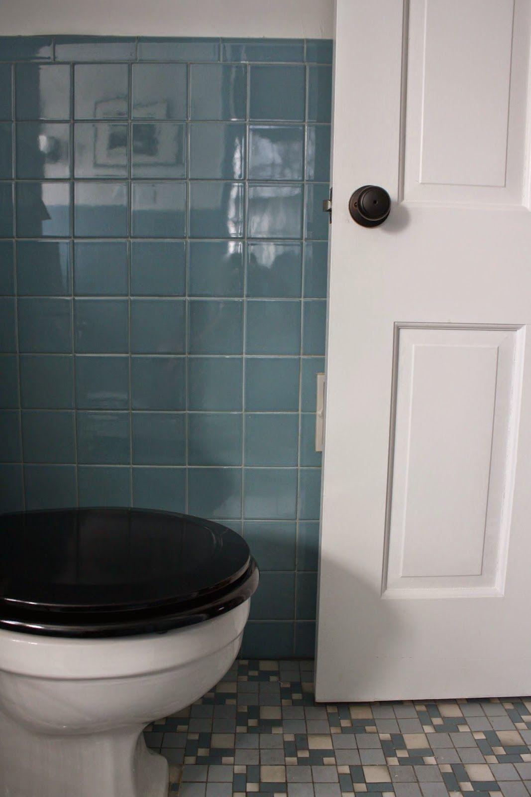 Vintage Blue Tile Bathroom Via Meet Me In Philadelphia Bathrooms - Bathroom tile philadelphia