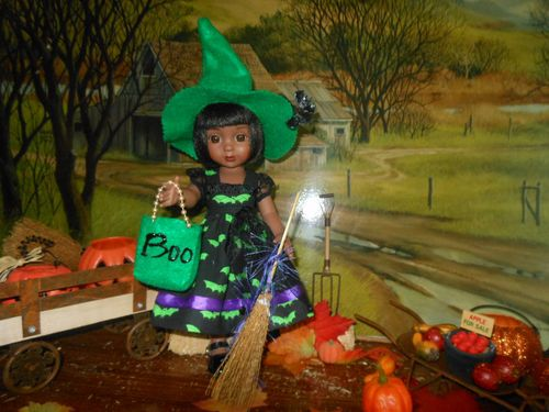 Goin Batty Halloween outfit for 10 in. Ann Estelle, BJD, or Patsy dolls. Click twice if you would like to see it on ebay.