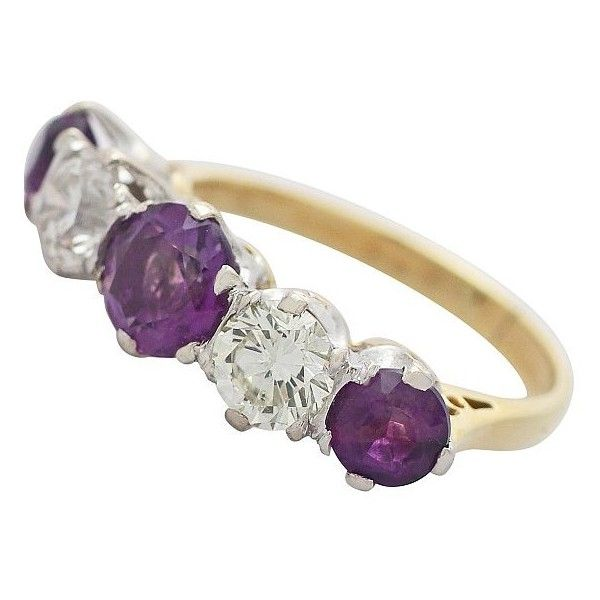 Amethyst Cocktail Ring with Diamonds in Yellow Gold ($3,000) ❤ liked on Polyvore featuring jewelry, rings, diamond, yellow gold diamond ring, gold diamond jewelry, diamond rings, diamond jewelry and cocktail rings