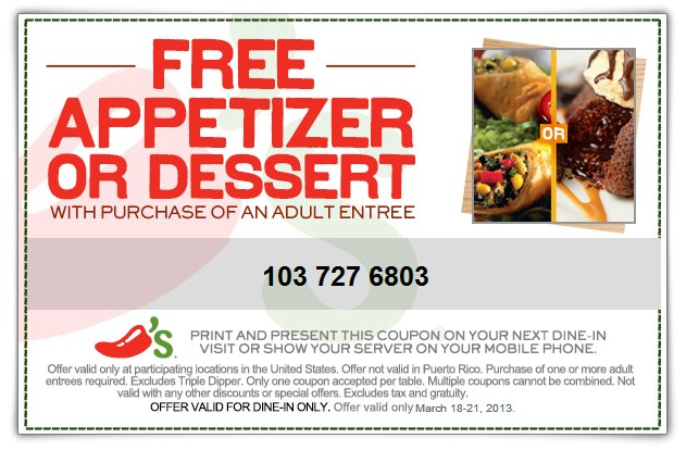 Free Appetizer Or Dessert With Your Entree At Chilis Coupon Via The Coupons App