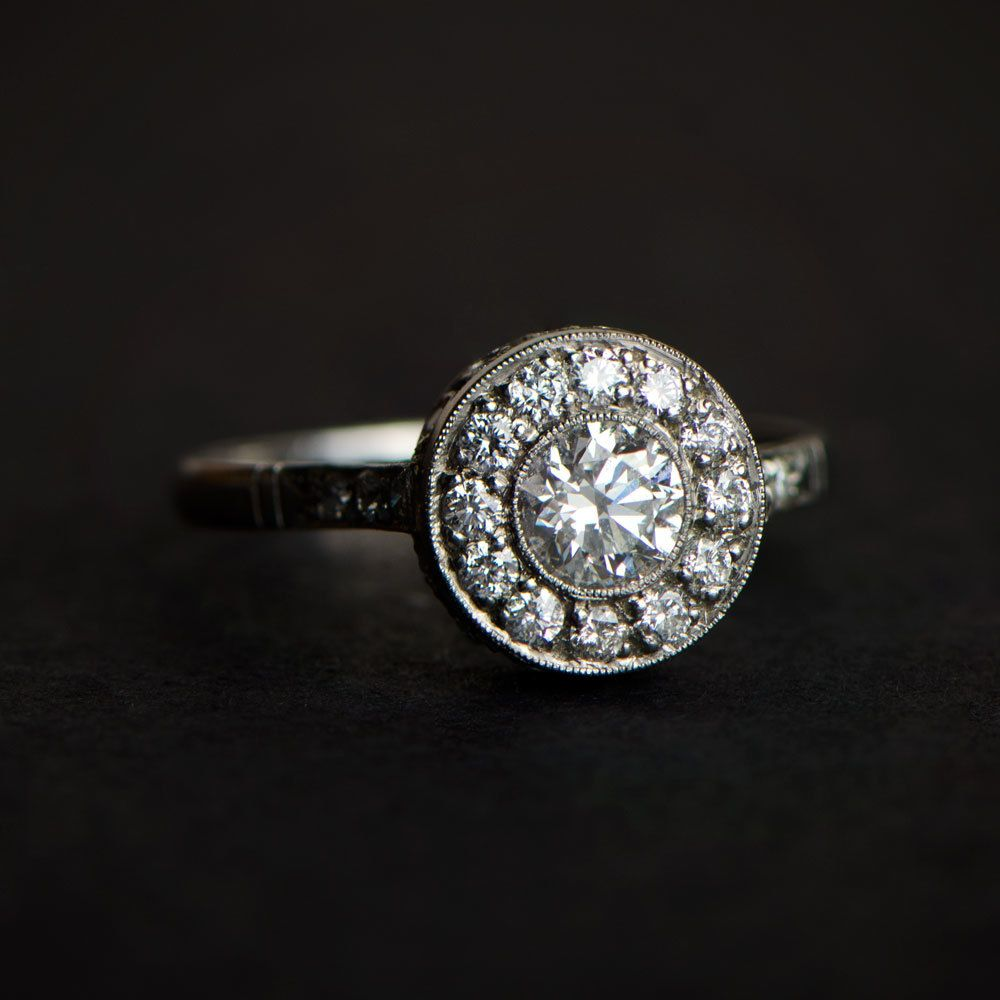 ring diamond stone filigree vintage piece engagement setting gold estate side antique media band wedding jewelry