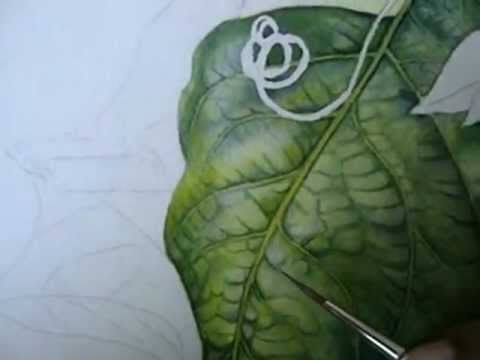 How To Paint Around Veins Of A Leaf In Watercolor Part 6