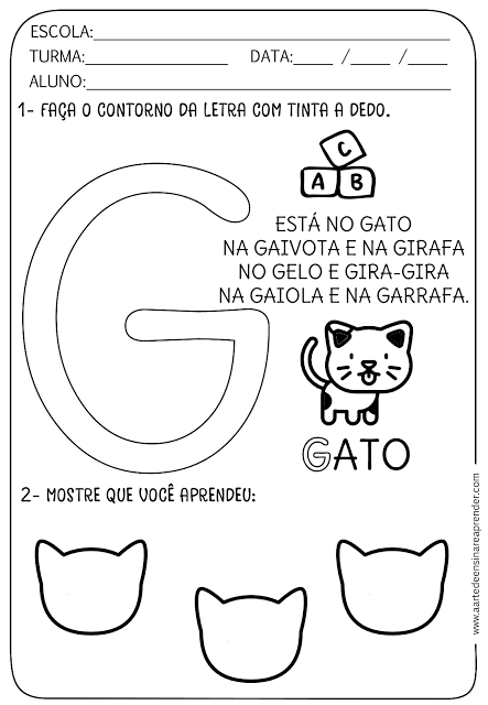 Atividade pronta - Alfabeto: Letra G   ESCOLA   Pinterest   Alfabeto ...