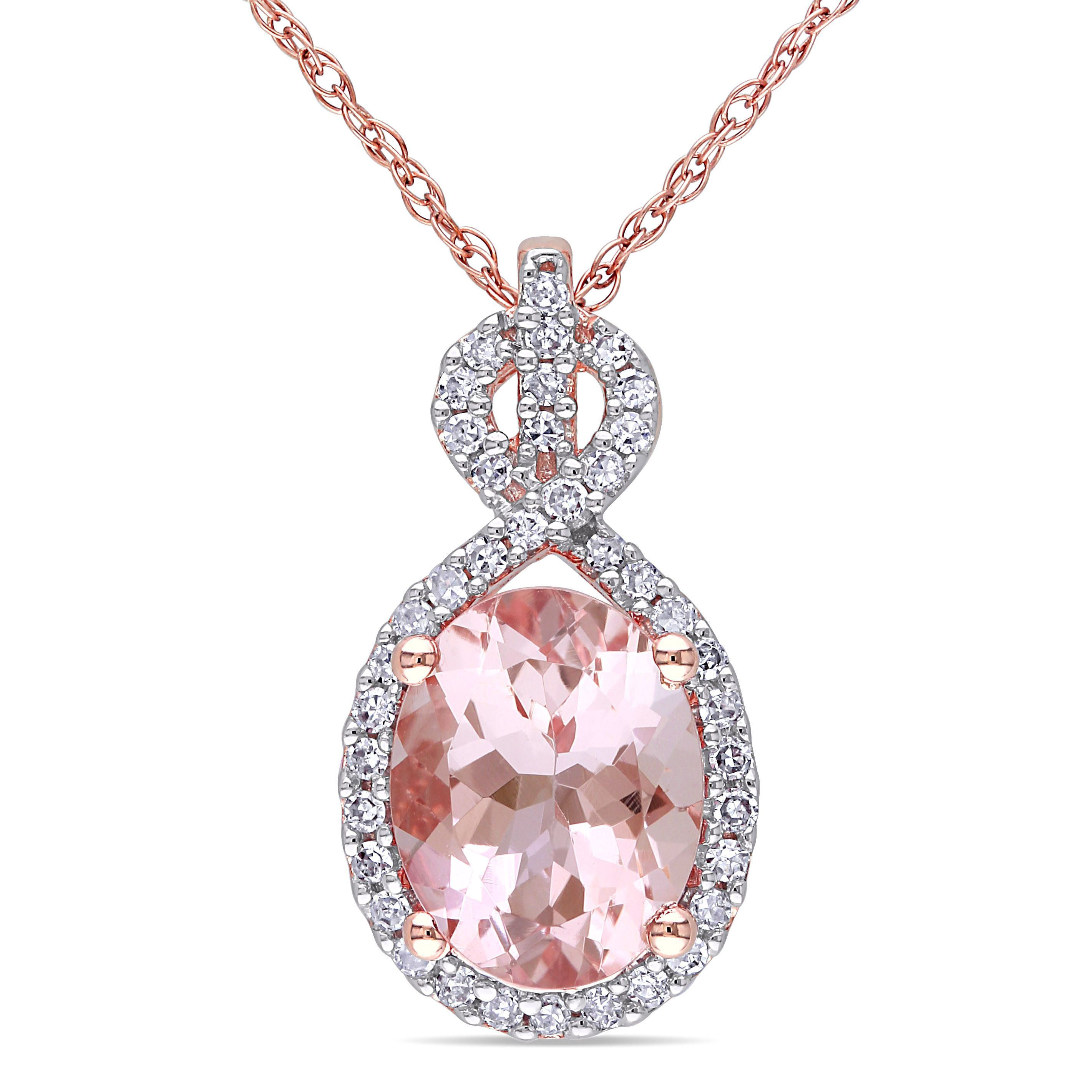 morganite necklace rose tw pendant with gold diamonds in