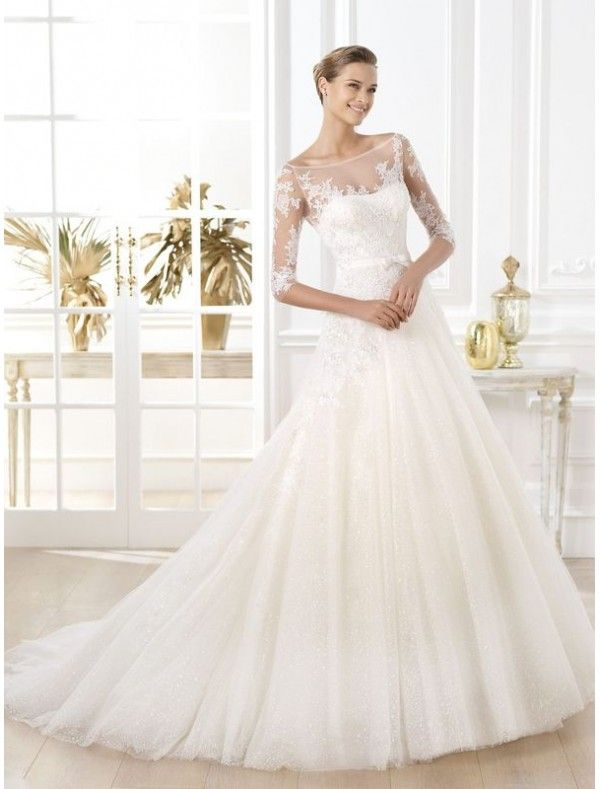 Lace collared wedding dresses