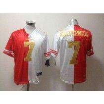 4f029ca9b Nike 49ers  7 Colin Kaepernick Red White(Gold No.) Men s Stitched NFL Elite  Split Jersey