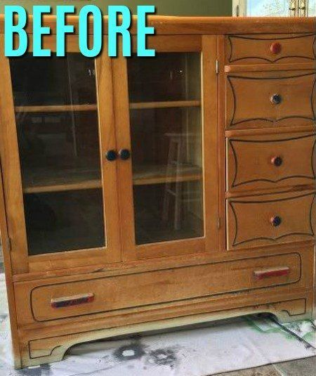 A Woman Finds This Old Dining Room Hutch Look At How Gorgeous It Is In Her Bathroom Now
