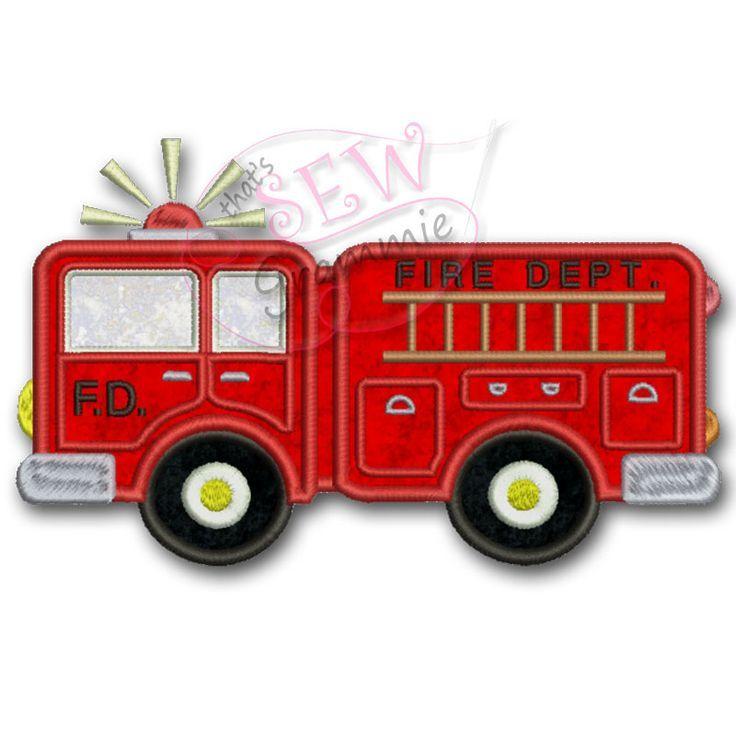 Firetruck or fireman applique appliqué designs fire
