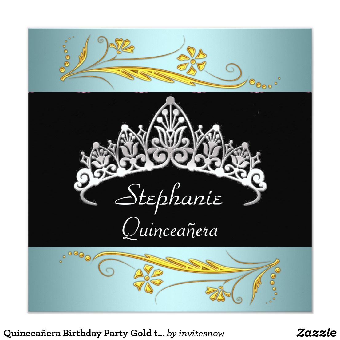 Quinceañera Birthday Party Gold teal Jewels Invitation