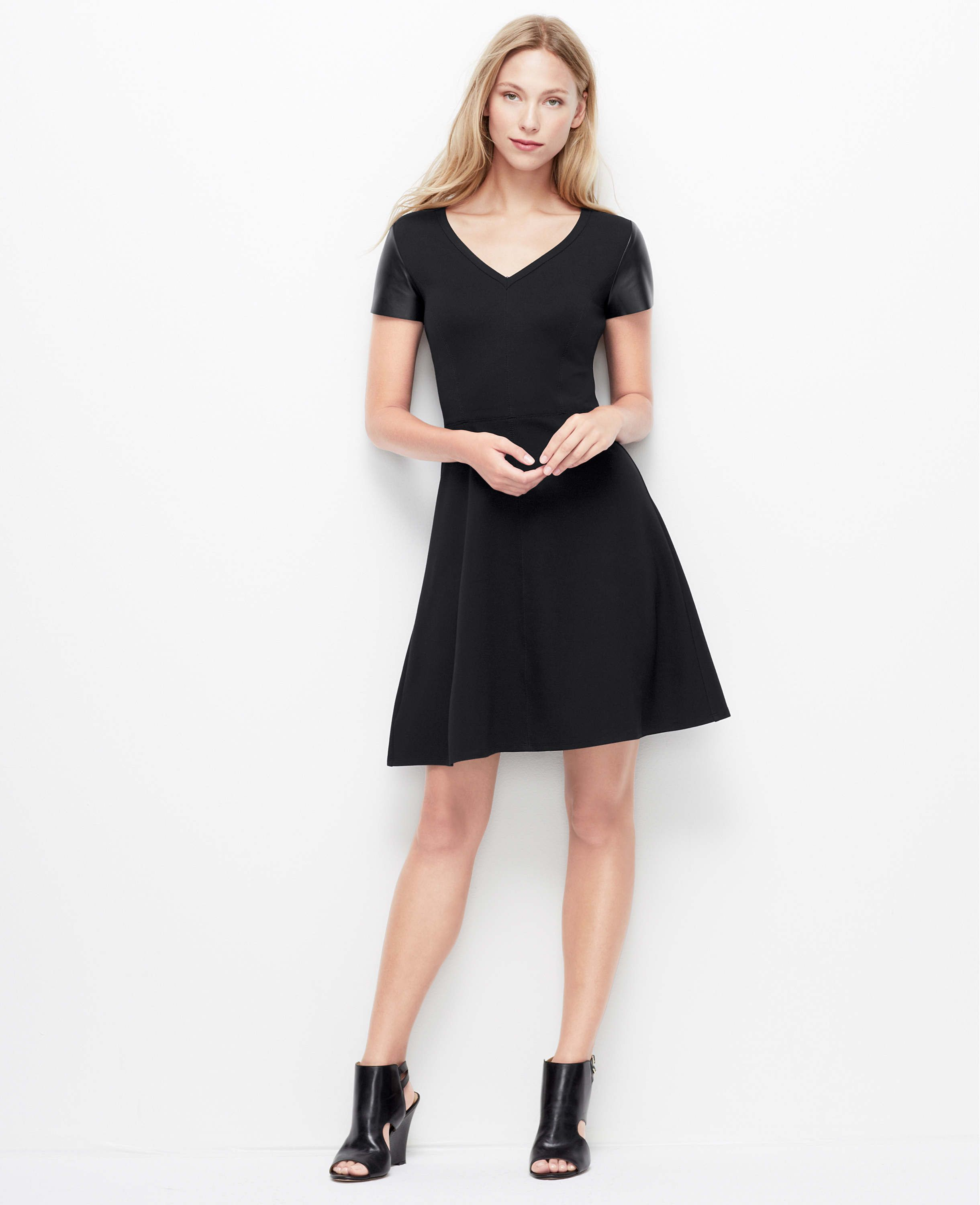 Faux Leather Short Sleeve Dress | Ann Taylor | Dresses I Like Most ...