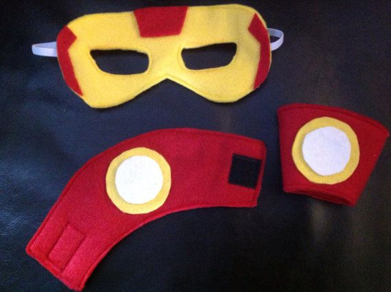 Super Hero Mask and Cuffs, Ironman Mask, Costume, Felt Mask, Dress Up