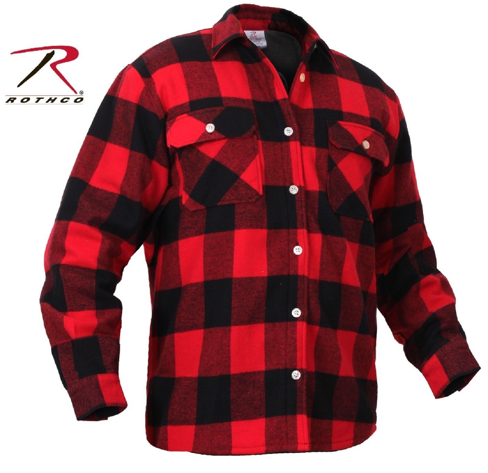 Mens Fleece-Lined Plaid Flannel Shirt - Rothco Red & Black Cotton ...