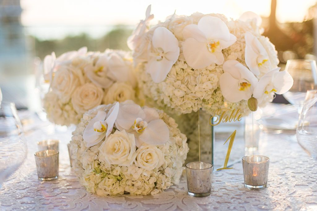 Floral details at wedding reception at Trump International Hotel Waikiki