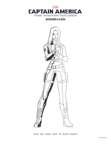 Printable Captain America The Winter Soldier Black Widow Coloring
