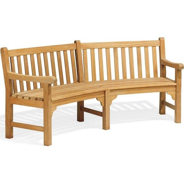 Oxford Garden Essex 5 Person Wood Curved Patio Bench ($1,025) ❤ Liked On