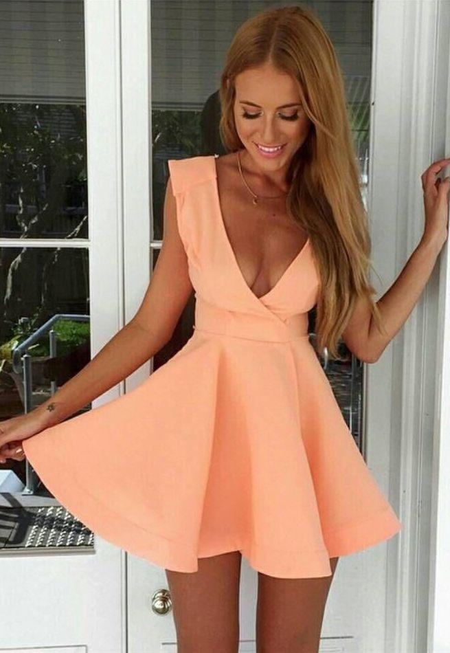 Deep V-Neck Short Peach Homecoming Cocktail Dress